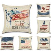 Bağımsızlık Günü Odası Dekorasyon Keten Yastık Yastık Kapağı 4 Temmuz Yastık Atmak Yastık Ev Cojines Decorativos Para Kanepe