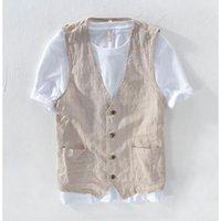 Men's Suits & Blazers Summer Linen Vest Thin Men Casual Sleeveless Jacket Stripe Waistcoat Male Clothing Leisure Plus Size S- 5XL