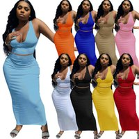 Plus Size Women Solid Color Two Piece Dresses Low Collar Maxi Skirt Suits Strap Sleeveless Tank Top + Floor-Length Skirts Summer Clothes