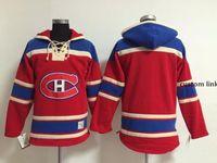 최고 품질 ! 몬트리올 canadiens 오래 된 시간 하키 유니폼 빈 이름 번호 빨간색 까마귀 풀 오버 스웨터 겨울 자 켓 사용자 정의 S-4XL입니다.