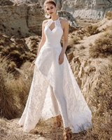 Boho Halter Lace White Jumpsuit Wedding Dress With Pants 2022 Sexy Cut-Out Backless Vestido De Novia Summer Counrty Bridal Gowns Runway Formal Reception Dresses