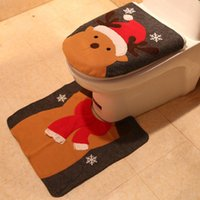Toilet Seat Covers Christmas Decorations Cartoon Old Man Snowman Cover Dress Up Dust Protection 2-piece Set