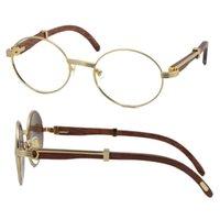 Por atacado copos de madeira quadros 7550178 Óculos de metal redondos óculos óculos feminino mulheres prata ouro quadro c decoração óculos tamanho: 55-22-135mm ou 57