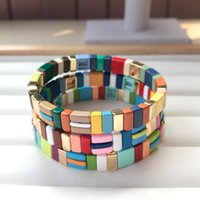 Beaded, Strands Rainbow Enamel Tile Bracelet,Multi-Stack Painted Beaded Stretch Bracelet,Bohemian Bracelets Fashion Women Jewelry QC2712