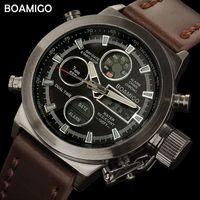Boamigo мужские спортивные часы коричневые кожаные группы человек военный кварцевый светодиодный цифровой аналоговый повседневные наручные часы водонепроницаемый Reloj Hombre X0524