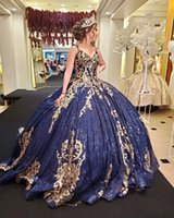 Navy Blue vestidos de xv 15 años Sequined Quinceanera Dresses Corset Back Ball Gown Prom Sweet 16 Dress robe princesse fille