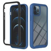 Lüks 360 Tam Darbeye Kılıflar Için iphone 12 Pro Max Mini 11 8 7 6 6 S SE2 2in1 Hibrid Katmanlı Sert PC Plastik TPU Kaymaz Çerçeve Tampon Ön Geri 2 1 Cep Telefonu Kapakları