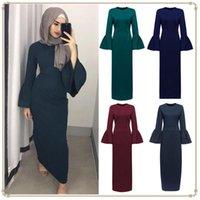 Ethnic Clothing Kaftan Ladies Robe Middle East Dubai Saudi Arabia Muslim Fashion Pure Color Flare Sleeve Dress Abaya Islamic Caftan
