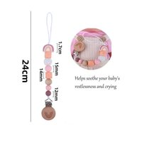 Baby Pacifier Chain Clips Holders Pacifiers Infant Feeding Natural Wooden Silicone Teething Beads Accessory Newborn Teeth Practice Toys Teether Rainbow B8900