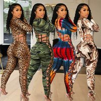 Women Tracksuits Two Piece Set Jumpsuits Designer Printed Leopard Camouflage Military Strapless Onesies Slim Sexy Rompers