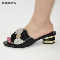 Dress Shoes Latest African Without Bag Set Comfortable Women For Parties Female High Heels Wedding With Rhinestone