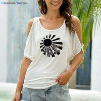 Women's T-Shirt Summer Cool Sunlight Graphic Tshirt Woman Sexy Irregular Brace Shoulder Tee Shirt Femme Fashion Casual Korean Style Shirts W