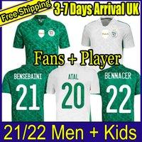 Vista fãs Versão Algerie 2021 Home Away Jerseys de Futebol Mahrez Feghouli Bennacer Atal 20 21 Argélia Kits de Futebol Camisa Men + Kids Conjuntos Maillot de Pé
