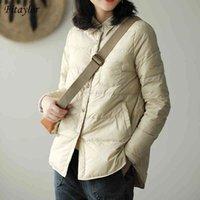 Женские пудовые Parkas Fitaylor осень зимние женщины поворотные воротник пальто ультра свет 90% белая утка куртка одиночной погружной ветрозащитный M05B