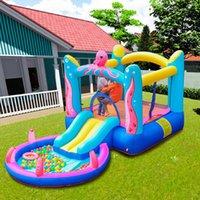 Jogos ao ar livre Atividades Octopus Bounce House - Enlatamento de Bouncer Inflável Corrediça de água com ventilador de ar Kids Party Brinquedos