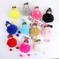 키 체인 잠자는 아기 인형 공 열쇠 고리 자동차 열쇠 고리 홀더 가방 펜던트 겨울 모자 매력 키 체인 봉제 모피 귀여운 여자 아이 장난감 D252