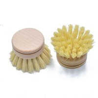 new Kitchen Cleaning Brush Wooden Sisal Beech Bamboo Dishwashing Brushes Head Household Clean Tool OWD10145