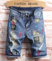 Мужчины Дизайнер Разорвал джинсы значок наклейки синие джинсовые шорты мужские летние летание стройная пригонка огорченные повседневные ретро большие размеры промытые мотористых байкерские брюки 1809