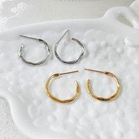 Stud European And American Retro Geometry C Earrings Simple Metal Wind Go With Type