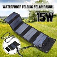 Bolsas de almacenamiento 15W Foldable USB 5V Panel solar celdas portátiles impermeables al aire libre Potencia móvil para acampar Senderismo