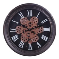 Wall Clocks 2021 Unique 33cm Moving Gear Mute Retro Clock Battery Operated Hanging For Living Room Home Office Decor Gift