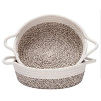 Storage Baskets 2PCS Cotton Rope Small Woven Basket Fabric Tray Bowl Round Open Dish For Fruits Jewelry Keys Sewing Kits