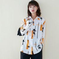 Womens Fall Fashion Female Blouse Full Sleeve Casual Print Shirt Korean Style Turn-down Collar Ol 2021 Robe Women's Blouses & Shirts