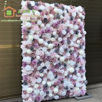 Artificial Flower Wall Wedding Background Dahlia Austin Rose Lawn Pillar Fake Runner Plate Road Lead Home Decorative Flowers & Wreaths