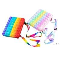 미국 재고 새로운 어깨 가방 Fidgets 장난감 7 * 23cm 무지개 실리콘 Fidget 장난감 푸시 지갑 키즈 크로스 바디 가방 핸드백