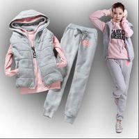 Moda Mulheres Terno de Inverno Mulheres Tracksuits Sports and Leisure Capuz Plus Velvet Sweater Chuqing Marca Três Peça Coreano