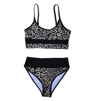 Women's Swimwear Leopard Printed 2Pcs Bikini Suit, Crop Tank Tops With High Waist Triangle Bottom, Fashionable Swimsuit For Beach