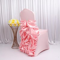Chair Covers 2021 March 10 PCS lot Spandex Body Satin Ruched Back Ruffled Banquet Chiavari Cover For Wedding Birthday Decoration