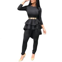 Women's Two Piece Pants Female ensemble two pieces, ask for body long sleeve irregular, pleated blouse, legging, club, party clothes birthday, spring QNR1