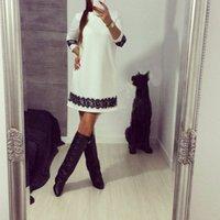 숙녀 파티 튜닉 미니 드레스 Womens 꽃 레이스 드레스 의상 칵테일 긴 소매 사이즈 S XL 화이트 C6QY #