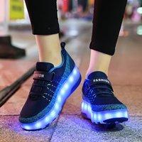 크기 28-40 더블 바퀴 소년이있는 발광 운동화 소년 롤러 스케이트 신발 키즈 소녀 USB 충전 어린이 어린이 빛나는 바퀴 신발