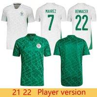 Oyuncu Sürümü Cezayir 2021 Ev Beyaz Uzaktan Yeşil Futbol Formaları Mahrez Feghouli Bennacer Atal 20 21 Cezayir Futbol Takımı Gömlek Maillot De Foot
