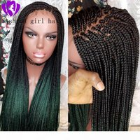 New style Handmade Braided Box Braids Wig Ombre Green color Synthetic Lace Front Wig for American black women cosplay party
