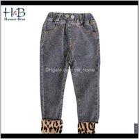 Humor oso ropa chicas leopardo jeans primavera y otoño algodón bebé niños niños pantalones 201204 OQWX2 VFUV0