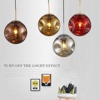 مصابيح قلادة الحداثة الكرة المقعر الثريا شخصية غرفة نوم الإضاءة الإبداعية غرفة الطعام مصباح LED المصابيح الحبل الزجاج ستون E27