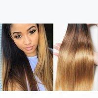 9A bon marché ombre ombre péruvien 3pcs droite 1b 4 27 miel blonde trois tons cheveux humains tissée de cheveux soyeux droit péruvien
