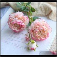 Dekorative Kränze 61cm Künstliche Blume Silk Mariage Geburtstagsfeier Western Rose Hochzeitsblumen Ranunculus Asiaticus Branch Home de ljh8i