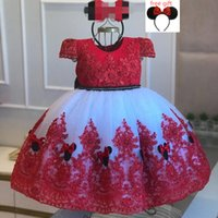 Black Red Lace Ball Gown Flower Girl Dresses For Wedding Pearls Pageant Gowns Bow Back Tulle First Communion Birthday Dress Free Headpiece
