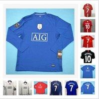 2007 2008 2009 Manchester Retro red Home Soccer Jersey uNiTeD 7# Ronaldo Long sleeve 07 08 09 MAN #10 Rooney #11 Giggs #18 Scholes uTd Football Shirts