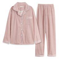 Nightdresses Наборы WAVMIT Женщины Cats Pajamas Effen Цветные полосы Длинные Mouw Топ Брук