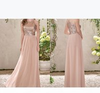 Rose Gold Sequins Top Long Chiffon Beach 2019 Bridesmaid Dresses Halter Backless A Line Ruffles Blush Pink Maid Of Honor Gowns BM0151
