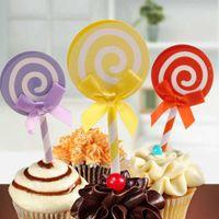 Другое событие Party Party Actories Love Lollipop с соломенной вставленной картой Флаг украшения Свадебный торт Топпер Mix Color 6 шт. / Упаковка с днем рождения
