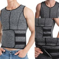 Men's Body Shapers Men Sauna Zipper Waist Trainer Corset Vest Shapewear Belt Top Shaper Slimming Compression Girdles