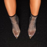 Summer Sexy Black Women's Boots Stiletto Pointed Hollow Mesh Fishnet Socks Ladies High Heels Ankle