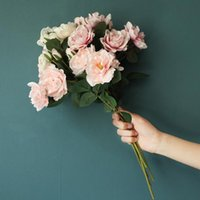 Decorative Flowers & Wreaths Fake Peony Bouquet Vase For Home Decor Wedding Bridal Accessories Clearance Christmas Scrapbooking Artificial