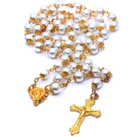 Golden Pearl Rosary Beads Necklace Jewelry Cross Catholic Religious Supplies